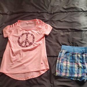 girl 7/8 blue plaid shorts pink top